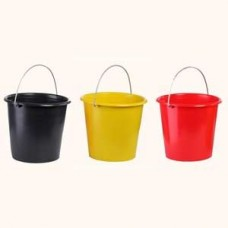 Plastic garden bucket: 10 L (black, red and yellow)